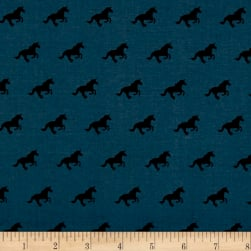 Cotton + Steel Lawn Lawnquilt Unicorn Race Denim Fabric