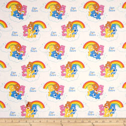 Care Bears Nostalgic Rainbow White Fabric