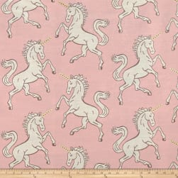 Pink Unicorn Metallic Horn Jacquard Fabric