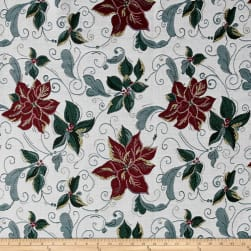 Christmas Craze Poinsettia Jacquard Fabric