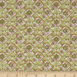 Diamond Trellis Bubble Crepe Green/Salmon/Multi Fabric