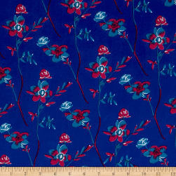 Thakoon Sweet Floral Crepe de Chine Blue/Berry Fabric