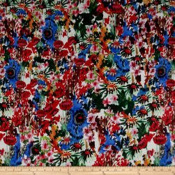 Thakoon Watercolor Floral Chiffon Forest Green/Multi Fabric