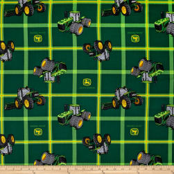 John Deere Square Plaid Tractors Green Fabric