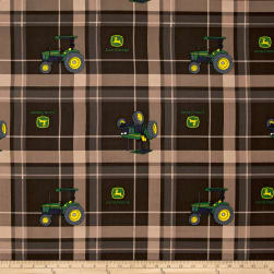 John Deere Brown Tractor Plaid Brown