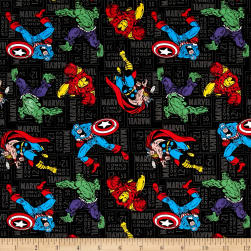 Marvel Retro Comics Character Toss Black Fabric