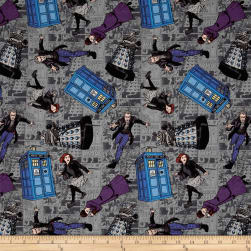 BBC Doctor Who Character Toss Gray Fabric