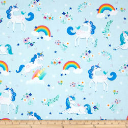 Kaufman Happy Little Unicorns Unicorns Rainbows/Blue Fabric