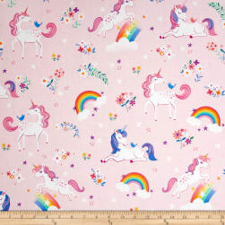 Kaufman Happy Little Unicorns Unicorns Rainbows/ Pink Fabric