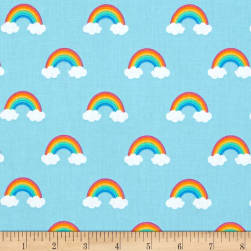 Kaufman Happy Little Unicorns Rainbows Blue