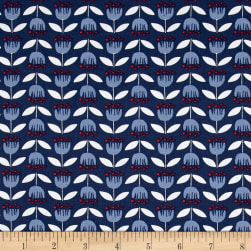 Monaluna Organic Simple Life Blue Tulip Canvas Fabric