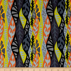 Kaufman Psychedelia Flowers Black/Sunset Fabric