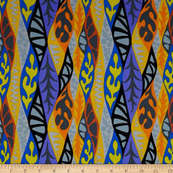 Kaufman Psychedelia Flower Stripes Caribbean Black Fabric