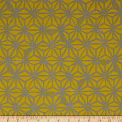 Kaufman Psychedelia Flowers Toile Taupe/Mustard Fabric