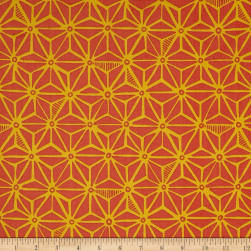Kaufman Psychedelia Flowers Poppy/Grey Fabric
