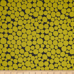 Kaufman Psychedelia Leaves Circles Dots Mustard/Grey Fabric