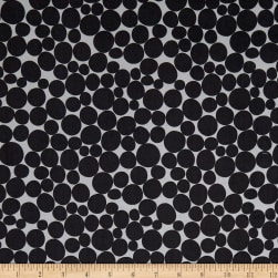 Kaufman Psychedelia Leaves, Circles, Dots Taupe/Onyx Fabric