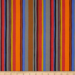 Kaufman Psychedelia Squares, Stripes Orange/Fiesta Fabric