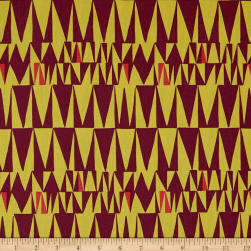 Kaufman Psychedelia Yellow Ovals, Triangles Maroon Fabric