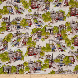 Kaufman Bienvenue A Paris Waterfall Adventure Street Fabric