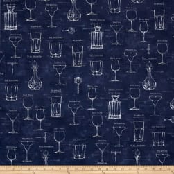 Kaufman Cheers Coty Glasses Blue Fabric