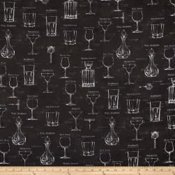 Kaufman Cheers Adventure Glasses Charcoal Fabric