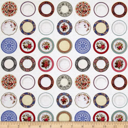 Kaufman Tea Time Fog Dots, Plates White Fabric