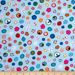 Kaufman Thimbles And Threads Ecru Dots, Buttons Blue