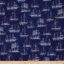 Kaufman Vintage Blueprints Digital Dots, Sailboats Indigo Fabric
