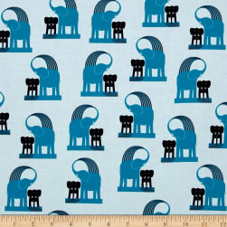 Kaufman Geo Zoo Retro Elephants Blue Fabric