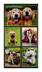 Kaufman I Ruv You White Suitcases Sweet Dogs Panel Fabric