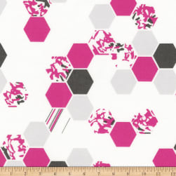 Kaufman Palm Canyon Hexies Pink Fabric