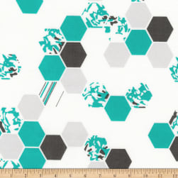 Kaufman Palm Canyon Hexies Teal Fabric