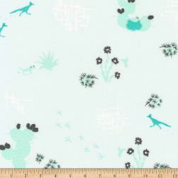 Kaufman Palm Canyon Cactus, Birds Aqua Fabric