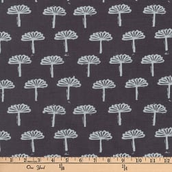 Kaufman Blueberry Park Trees Charcoal Fabric