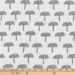 Kaufman Blueberry Park Trees Silver Fabric