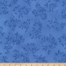 Kaufman Lady Elizabeth Flowers Blue Fabric