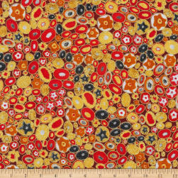 Kaufman Gustav Klimt Jewels Red Metallic Fabric