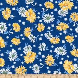 Kaufman Sunshine Garden Scatter Navy Fabric