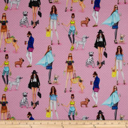 Kaufman C'Est Chic Girls,Dogs, Fashion Pink Fabric