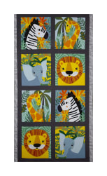 Kaufman Safari Soiree Animal Panel Grey Fabric