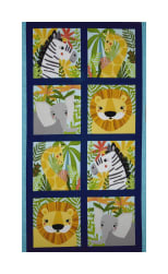Kaufman Safari Soiree Animal Panel Aqua Fabric