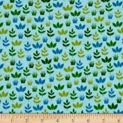 Kaufman Safari Soiree Leaves Aqua Fabric