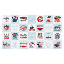 Kaufman Old Guys Rule Cars 24'' Panel Denim Fabric