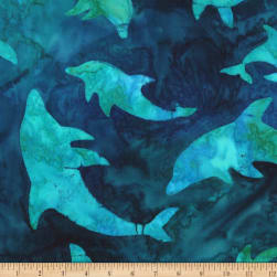 Kaufman Totally Tropical Dolphis Teal Fabric