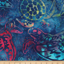 Kaufman Totally Tropical Turtle Collage Multi Fabric