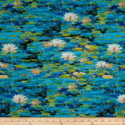Kaufman Picture This Digital Lily Pads Water Fabric
