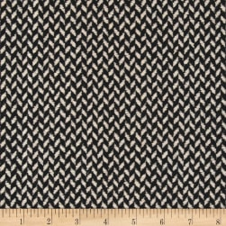 Florencia Zig-Zag Jacquard Coating Black/Cream Fabric