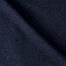 Solid Waffle Plush Wool Blend Coating Navy Fabric