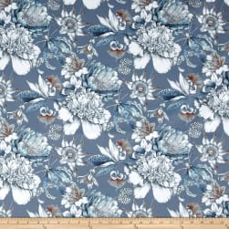 Stof France Passiflore Velvet Bleu Fabric